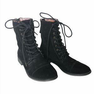 Roxy black suede laser cut Field boots CCO